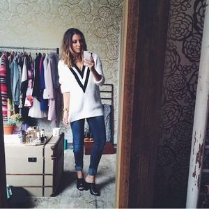 H&M v neck varsity sweater