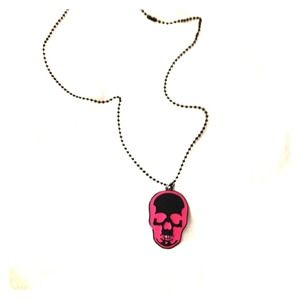 """Jewelry - Skull PINk & Black on 24""""in BLACK BALL CHAIN"""