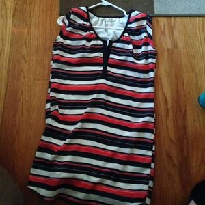 Navy blue and red striped dress