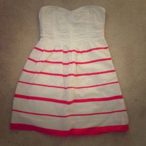 White summer dress with orange stripes