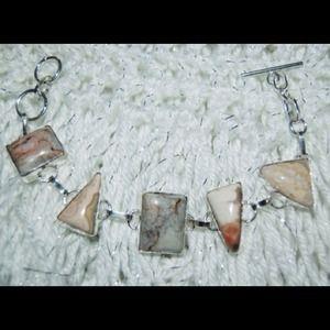 handmade & handcrafted gemstone jewelry Jewelry - Ocean Jasper Muti Shapes 925 Silver Bracelet
