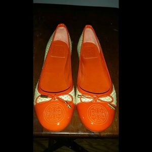 JUST LOWERED!  Orange Tory Burch Flats