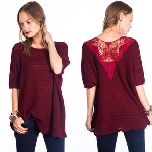 """Love Potion"" Red Wine Lace Knitted Sweater Top"