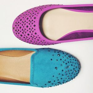 Shoes - Purple flats cutouts pink jewel radiant orchid
