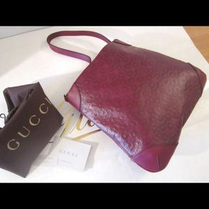 GUCCI RED WINE BORDEAUX GG LEATHER  HOBO