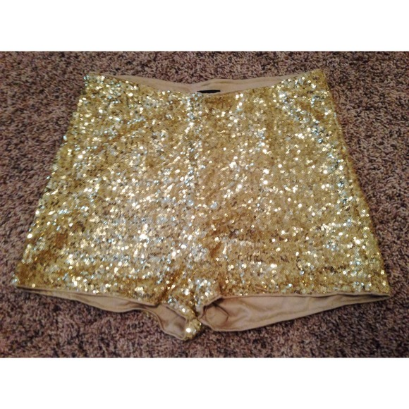 75% off H&M Pants - Gold sparkle high waisted shorts!! H&M from ...