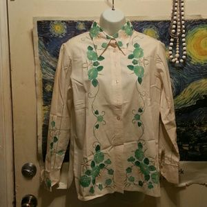 King James  Tops - Pure cotton long sleeve blouse w/hand appliques on