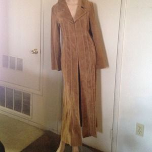 100%Leather Wet Seal Maxi Coat SZ M