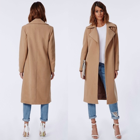 Missguided - *ALTERED/KEEPING* Camel wool waterfall coat from ...