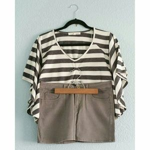 Striped Butterfly Top + Olive Denim Mini Skirt