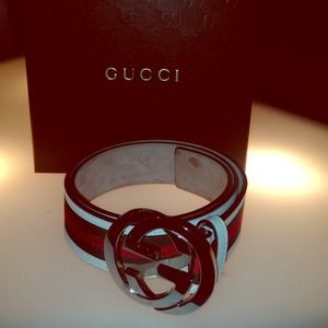 Gucci striped GG buckle belt