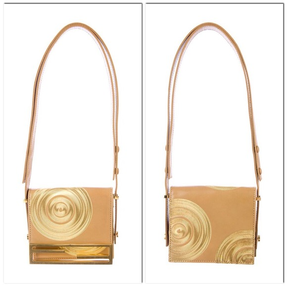 Vintage Fendi Leather Bag With Gold Stitching