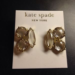 NEW Kate Spade Crystal & Gold Earrings