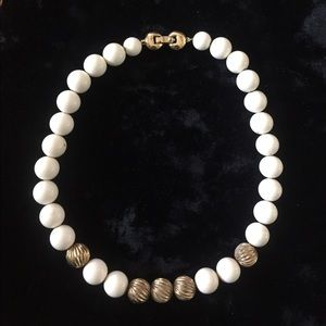 Monet Jewelry - Vintage MONET White & Gold Beaded Necklace