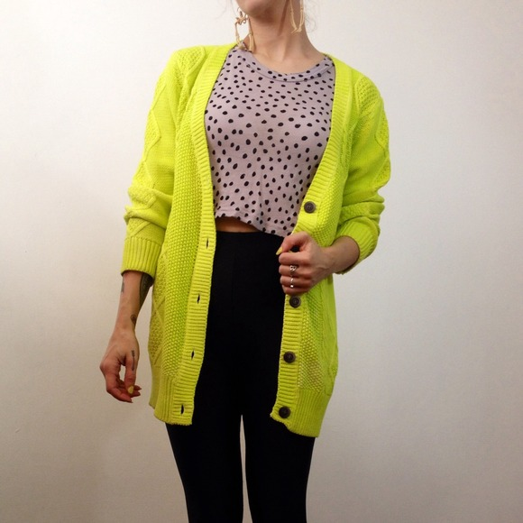 60% off nameless Sweaters - Neon highlighter yellow slouchy long ...