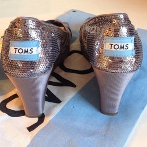 Toms Sequined Wedge Heels