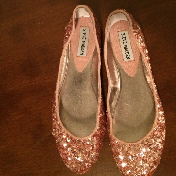 Rose Gold Sequin Flat Shoes