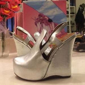 Jeffrey Campbell silver metallic wedges