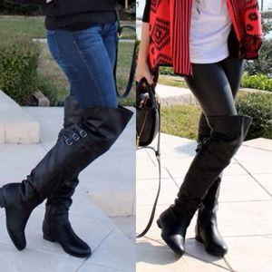 Deb Shoes - Over The Knee Black Boots w/ side zippers