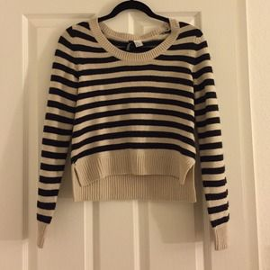 Striped cropped black sweater