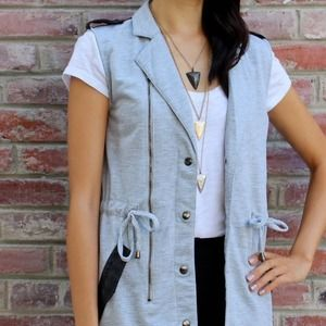 Joa Jackets & Blazers - 🎉🎈 HP - Grey Vest with Faux Leather Details 🎈🎉
