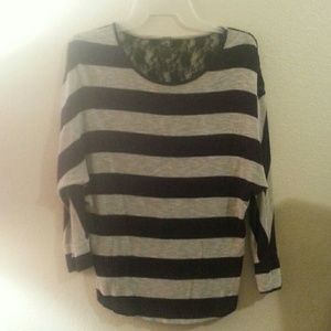 Tops - Laced striped shirt!