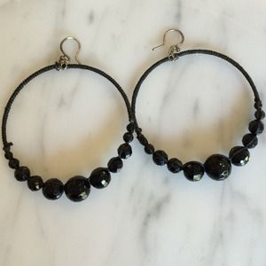Chan Luu Jewelry - Black Beaded Hoop Earrings