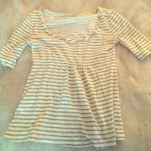 J. Crew olive and cream striped shirt