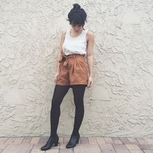 Suede high waisted shorts