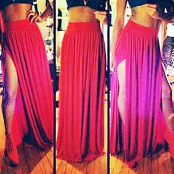 ce008fa42b Skirts | Super Sexy Red Maxi Skirt Double Slit | Poshmark