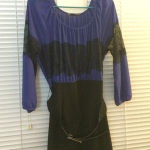 Royal Blue / Black Dress w/ Black Lace