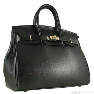 birkin style leather bag