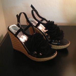 Shoes - Size 5 black & tweed wedges.