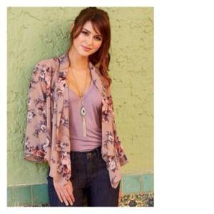 Jackets & Blazers - Dusky Rose & Pastel Floral Kimono Cardigan