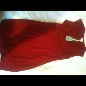 Hoss/dress open neck ruffle slit front red size 38