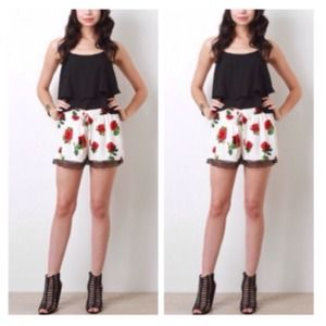 Pants - Gothic Red B&W Rose Print Lace Shorts
