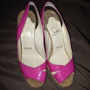 Christian Louboutin Pink Cork wedges ‼️Reduced ‼️