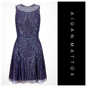 Aidan Maddox Beaded & Sequined Cocktail Dress NWT