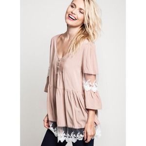 """Marionette"" Long Sleeve Lace Accent Top"
