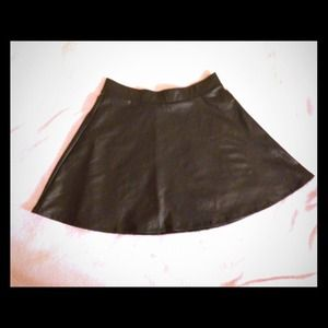 Black Liquid Leather Skirt
