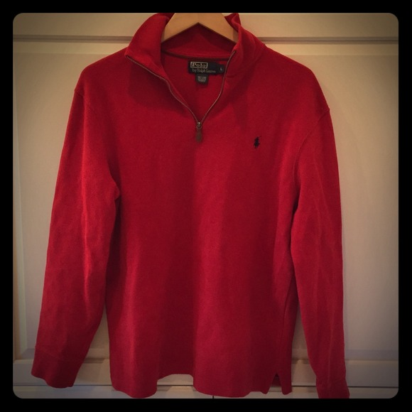 Polo by Ralph Lauren - Men's Red Quarter Zip Sweater from ...