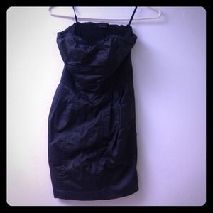 Strapless faux leather dress