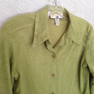 Caribbean Joe Tops - Olive green suede fabric button front shirt