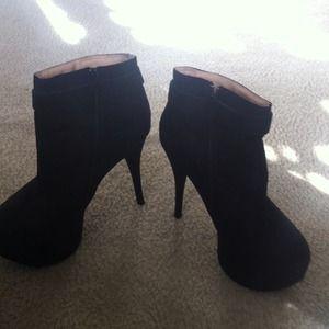 Black Suede ankle platform booties