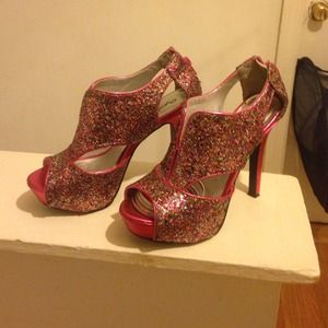 Multi colored pink sparkle heels