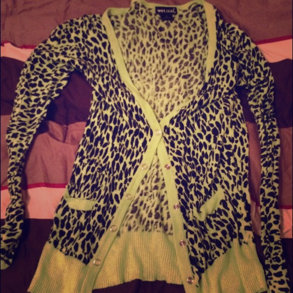 52% off Wet Seal Sweaters - Lime green leopard print cardigan from ...