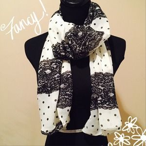 Accessories - NEW Sheer Black & Cream Lace-Look Scarf