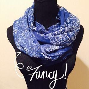 Accessories - NEW Sheer Henna Print Scarf in Cornflower Blue