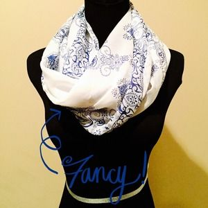 Accessories - NEW Sheer Henna Print Scarf in Cream