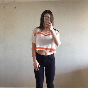 SALE Free People Orange Bunny crop top size XS